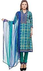 Divyaemporio Women'S Faux Cotton Blue And Green Salwar Suits Dress Material