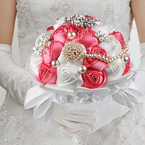 VLoveLife Advanced Wedding Bridal Bridesmaid Holding Bouquet Artificial Satin Rose Flower Handmade Posy Pearl Rhinestone Diamonte Lace Ribbon Decor , White + Pink