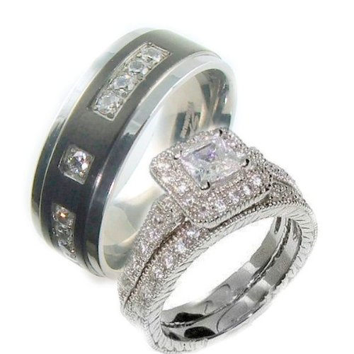 3 Pieces His & Hers, 925 Sterling Silver White Gold Plated & Titanium Matching Engagement Wedding Bridal Ring Set. Available Sizes Men's 8,9,10,11,12,13; Women's Set: 5,6,7,8,9. Please Email Us with Your Sizes.
