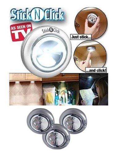 Ontel Scn-Mc12 Stick 'N' Click Set Of 3 Peel And Stick Led Lights