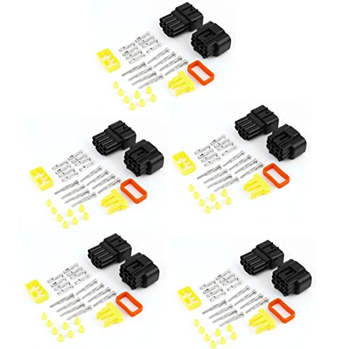 uxcell® Cable Connector Plug in 8 Pins Waterproof Electrical Sets Car HID 5Pcs