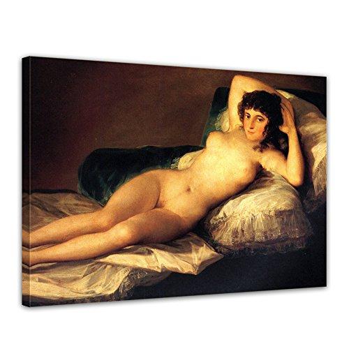 "Bilderdepot24 Leinwandbild Francisco de Goya - Alte Meister ""Die nackte Maja"" 70x50cm - fertig gerahmt, direkt vom Hersteller"