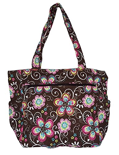 Bohemian Print Quilted Multipurpose Market Beach Large Tote Bag (Flower - Brown) (Quilted Zipper Tote compare prices)