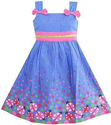 Sunny Fashion Girls Dress Blue Bug Pink Dot