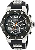 Invicta Men's Quartz Watch with Black Dial Chronograph Display and Black Silicone Strap 17939