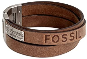 Fossil Mens Brown Leather Multi Strand Cuff Bracelet With Stainless Steel Id Plate from Fossil