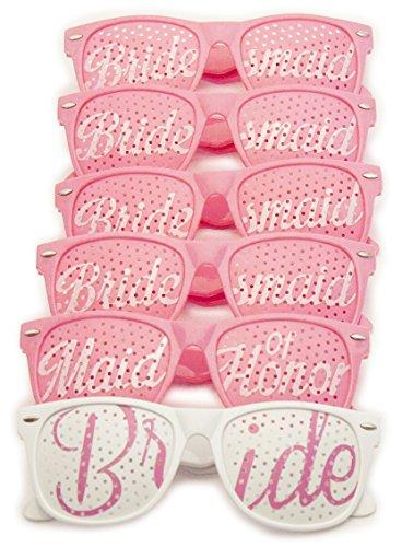Bridal-Bachelorette-Party-Favors-Wedding-Kit-Bride-Bridesmaid-Party-Sunglasses-Set-of-6-Pairs-Go-Selfie-Crazy-Themed-Novelty-Glasses-for-Memorable-Moments-Fun-Photos-6pcs-Pink-White