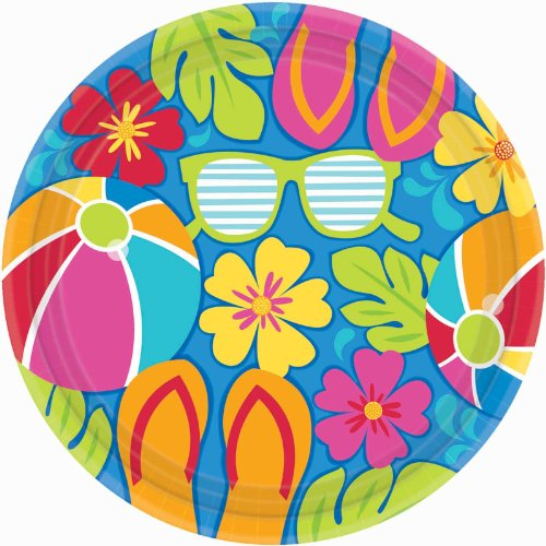 Amscan Summer Splash Luau Party Dinner Plates 10.5""
