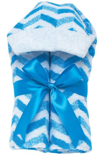 AM PM Kids! Tubby Towels, Chevron with Blue Ribbon
