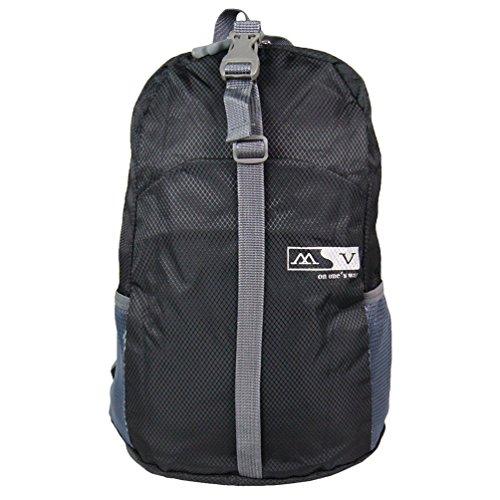 Ultra leggero pieghevole durevole casuale borsa da viaggio zaino (nero)