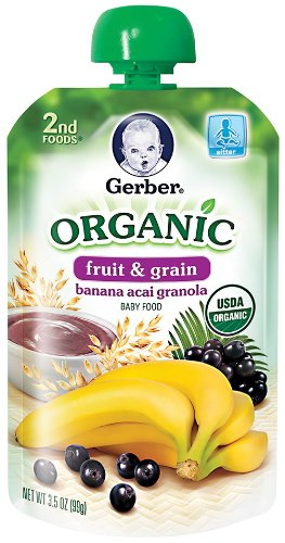 Gerber 2Nd Foods Organic Pouch, Banana Acai Granola, 3.5 Ounce (Pack Of 12) front-236369