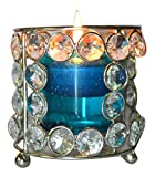 Real Expo Real Crystal Bead Votive Candle Holder Glass With Blue Tea Light