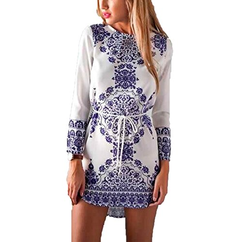 Pusheng Women Chinese White and Blue Porcelain Floral Printed Fashion Long Sleeve Dress Asia L