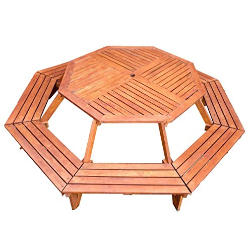 Creative Design Exports Octagonal 8 Seater Kids Picnic Bench - Rubberwood - Wooden Bench Table - Octagonal - Natural Finish
