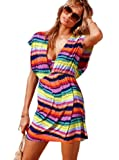 V-Shape Cover Up Beach Dress - Small/Medium - Rainbow