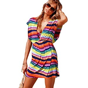 Sexy V-Neck Rainbow Stripes Beach Bikini Cover Up Dress