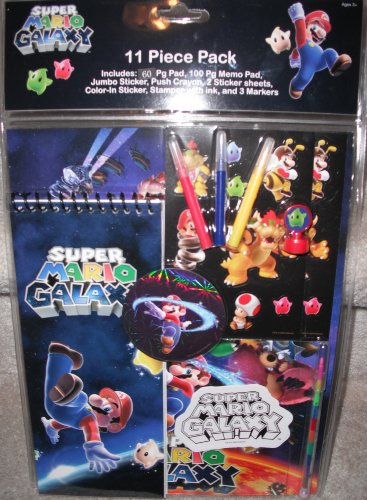 Super Mario Bros Nintendo Wii Super Mario Galaxy - 11 Piece Back To School Value Pack - Memo Pad Stickers Crayon Stamper Markers More