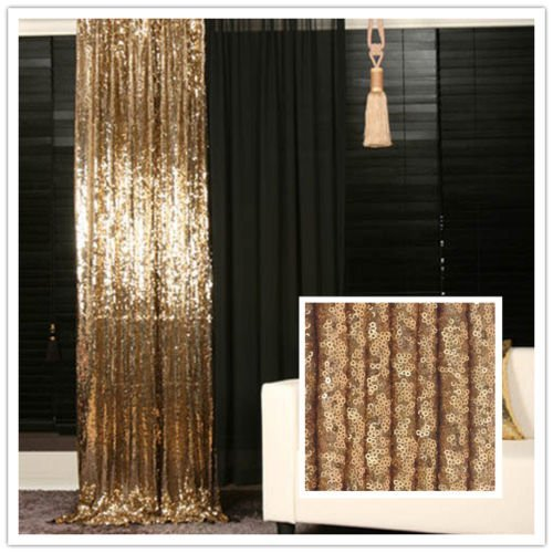 Trlyc 5ft 7ft Gold Shimmer Sequin Fabric Photography Backdrop Sequin Curtain For Wedding Party