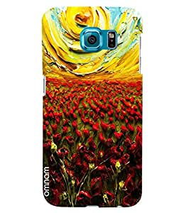 Omnam Glass Painting Effect Of Red Flowers And Sun Printed Designer Back Cover Case For Samsung Galaxy S6 EDGE Plus