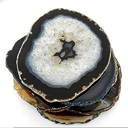 6 (SIX) Agate Coaster - Brown Black Natural Tones Agate Coasters Rock Paradise COA (AM9B1)