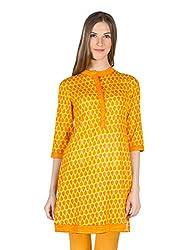Panit Women's Cotton Kurta (PANI022_Yellow_XX-Large)