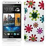 HTC One Mini (M4) H�lle Wei� Hardcase (Harte R�ckseite) Case Cover H�lle Schutzh�lle Blumen Muster - Wei� und Rot, Lila, Pink, Rosa, Blau und Gr�n