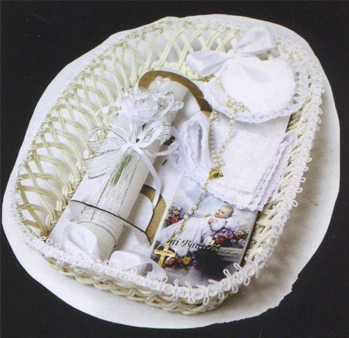 Baptism Gift Set - SPANISH - Rosary - Candle - Missal - Cloth - Shell - Wood Basket