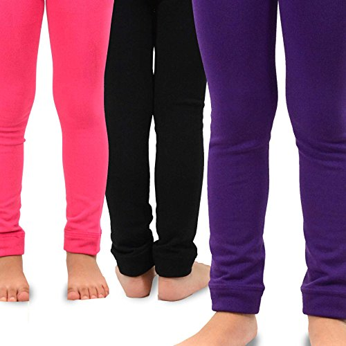 Naartjie Kids Girls Fleece Inner Brushed Leggings 3 Pack, Plain Pink+Purple+Black, 3-5 Years (Leggings Kids)