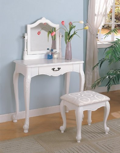 White Finish Wood 3 Pc Bedroom Make Up Vanity Table Set