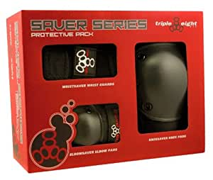 Triple Eight 604352 60014 Saver Series Wristsavers/Kneesavers/Elbowsavers, Black, Medium, 3-Pack