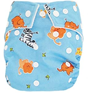 "Kawaii Baby Good Night Heavy Wetter One Size Pocket Cloth Diaper with 2 Large Microfiber Insert "" Blue Animal """