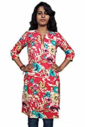 Miraaya Women's Cotton Kurta (M2536A_88893, Red, M)