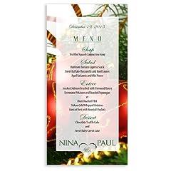 25 Wedding Menu Cards - Christmas Ornaments