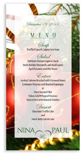 25 Wedding Menu Cards - Christmas Ornaments