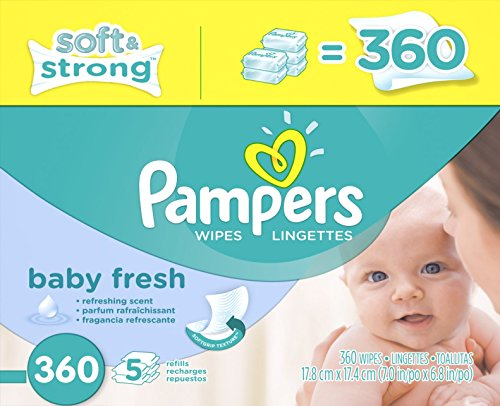 Pampers Refreshing scent, Hypoallergenic, Unique Softgrip Texture, Pure Water Lotion Baby Fresh Baby Wipes Refill Pack 360 Count (Newborn Wet Wipes compare prices)