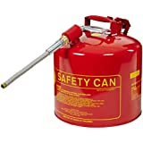 "Eagle U2-51-SX5 Type II Metal Safety Can, Flammables, 11-1/4"" Width x 15-7/8"" Depth, 5 Gallon Capacity, 5/8"" OD Pour Spout, Red"