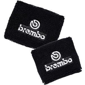 Brembo Black Reservoir Sock Cover Set Available in Black/Red and Black/Gray, Fits Honda CBR 600rr 1000rr, Suzuki GSXR 600 750 1000, Yamaha R1 R6 R6s, Kawasaki ZX6R ZX9R ZX10R ZX12R