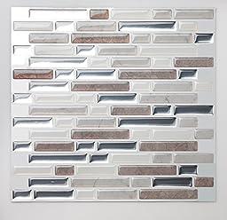 Tic Tac Tiles®-High Quality Anti-mold Peel and Stick Wall Tile in Random Brick Metal Pebble (10)