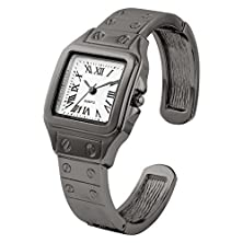 buy Elegant Gun-Metal Ladies Bangle/Cuff Watch With Square Roman Numeral Dial And Screws Detail On Band