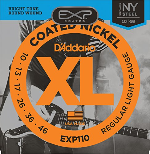 D'Addario EXP110 Coated Electric Guitar Strings, Light, 10-46 (D Addario Exp compare prices)