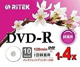 RiTEK V-R4X10PW DVD-R録画用 120min 1回録画用 4倍速 プリンタブル 白 スリムケース 10枚入り V-R4X10PW