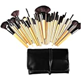 Dr K's Makeup Brushes 24pcs Quality Natural Cosmetic Brush Set with Leather Pouch, 24 Count Bursh set For Eye Shadow, Blush, Concealer, Etc