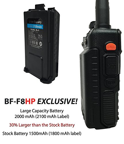 BaoFeng BF-F8HP 8-Watt Dual Band Two-Way Radio (136-174Mhz VHF & 400-520Mhz UHF) Includes Full Kit with Large Battery