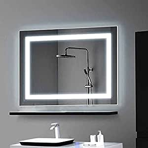 Decoraport Horizontal Led Wall Mounted Lighted Vanity Bathroom Silvered Mirror With