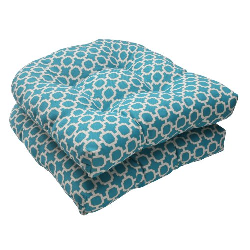 Pillow Perfect Indoor/Outdoor Hockley Wicker Seat Cushion, Teal, Set of 2 picture