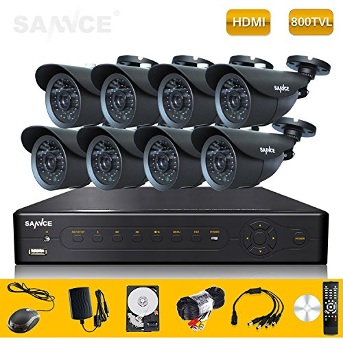 Sannce Home Smart P2P Qr Bar Code Scan 8Ch Real-Time Dvr 1Tb Hdd With 8 * Ir Bullet Security Camera System (Real 800Tv Line, Clear Night Vision) (Black)