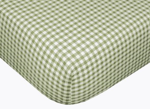Gingham Fitted Sheet - Sage front-1029982
