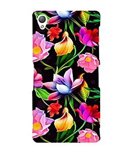 Floral Art 3D Hard Polycarbonate Designer Back Case Cover for Sony Xperia Z3 :: Sony Xperia Z3 D6653 D6603