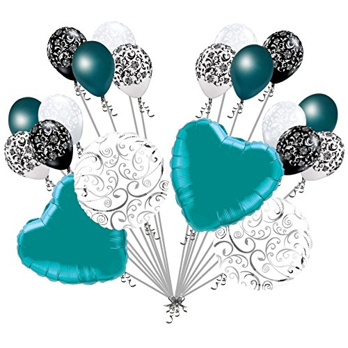 20 pc Teal Hearts & Swirls Balloon Bouquet Wedding Baby Shower Bridal