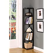 Kings Brand BK08 Wood Wall Corner 5-Tier Bookshelf Case, Espresso Finish